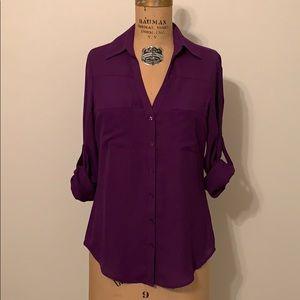 Express Portofino Shirt Blouse Purple XS X Small
